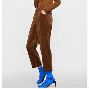 Zara caramel corduroy trousers